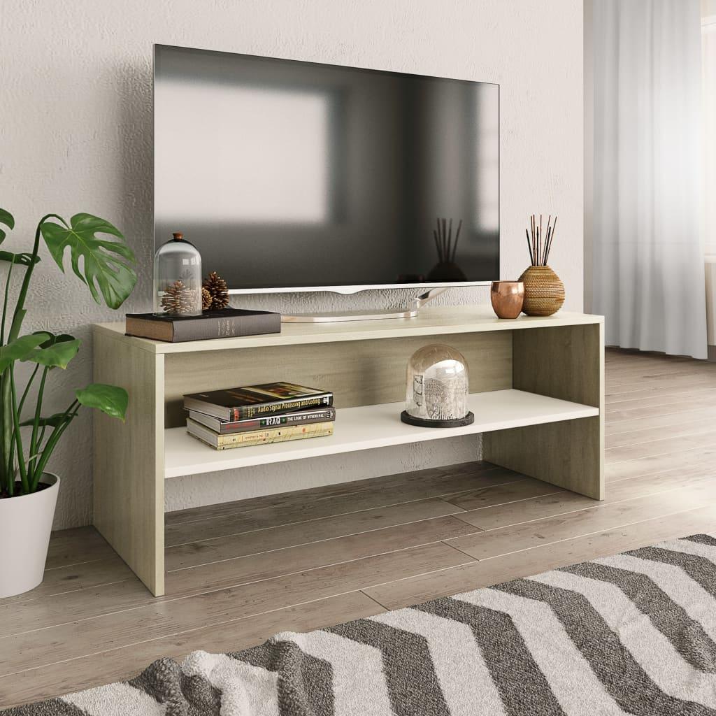 TV stolek bílý a dub sonoma 100 x 40 x 40 cm dřevotříska