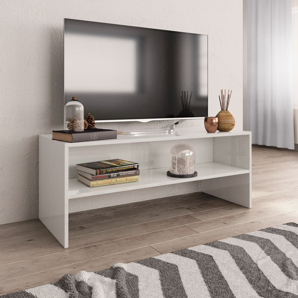 TV stolek bílý s vysokým leskem 100 x 40 x 40 cm dřevotříska