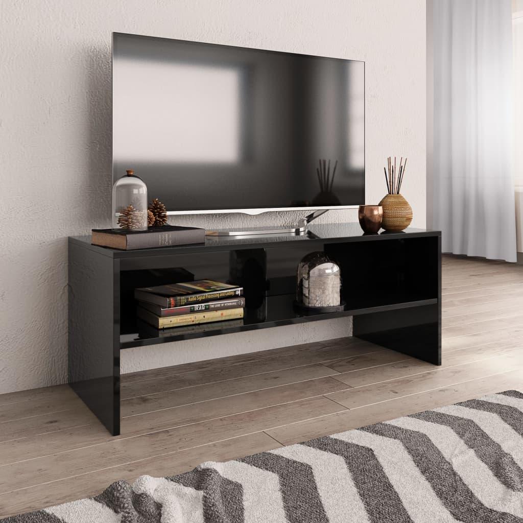 TV stolek černý s vysokým leskem 100 x 40 x 40 cm dřevotříska