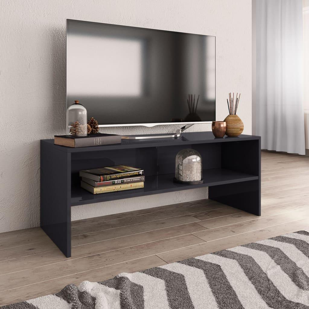 TV stolek šedý s vysokým leskem 100 x 40 x 40 cm dřevotříska