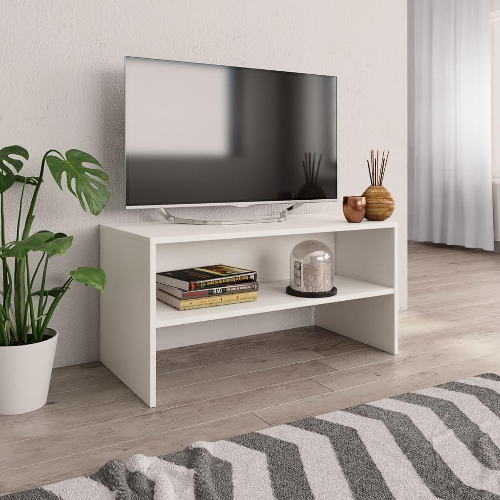 TV stolek bílý 80 x 40 x 40 cm dřevotříska