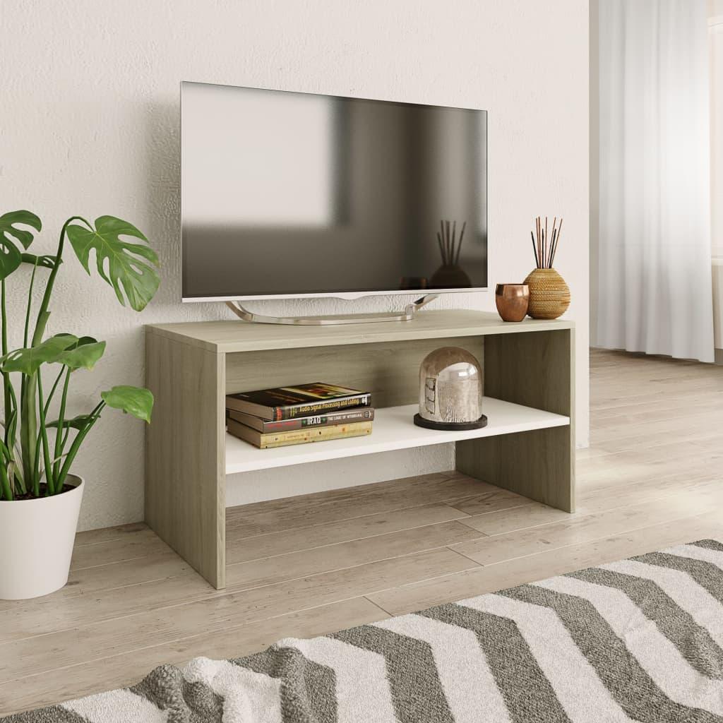 TV stolek bílý a dub sonoma 80 x 40 x 40 cm dřevotříska