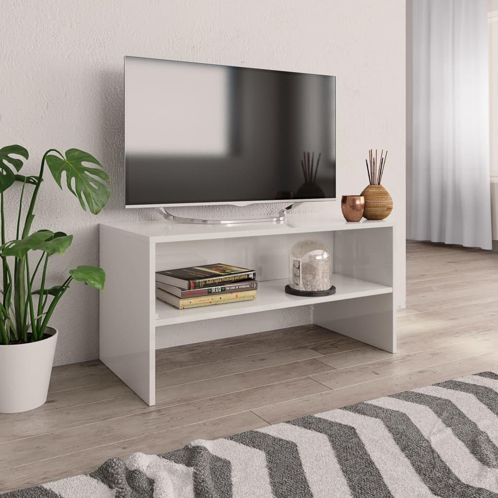 TV stolek bílý s vysokým leskem 80 x 40 x 40 cm dřevotříska
