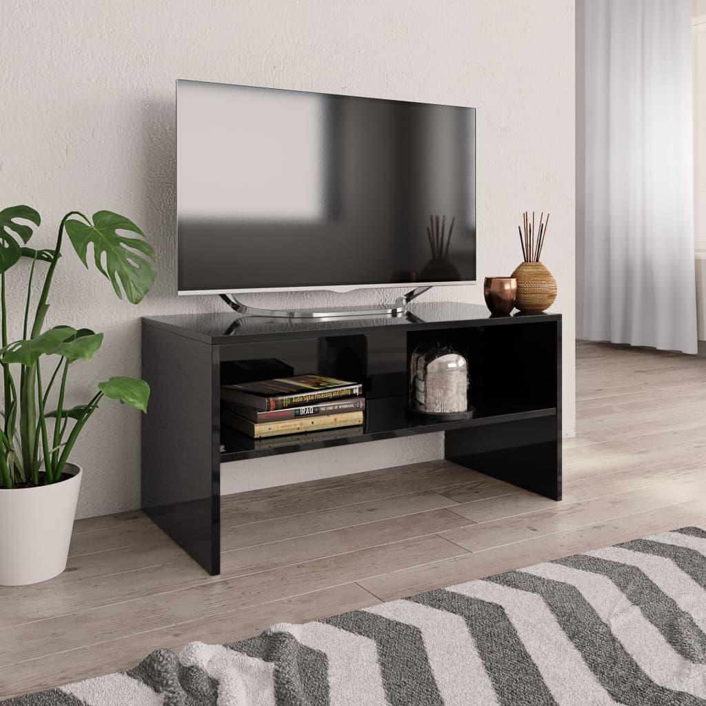 TV stolek černý s vysokým leskem 80 x 40 x 40 cm dřevotříska