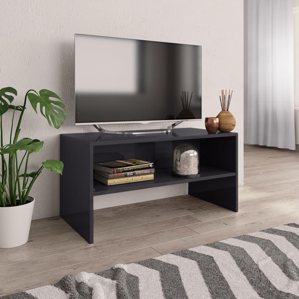 TV stolek šedý s vysokým leskem 80 x 40 x 40 cm dřevotříska
