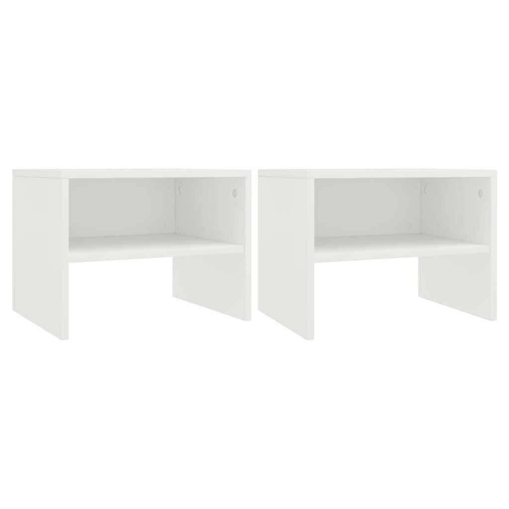 Noční stolky 2 ks bílé 40 x 30 x 30 cm dřevotříska