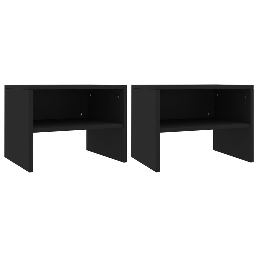 Noční stolky 2 ks černé 40 x 30 x 30 cm dřevotříska