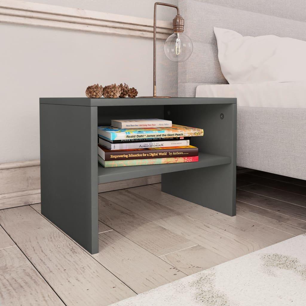 vidaXL Noční stolek šedý 40 x 30 x 30 cm dřevotříska