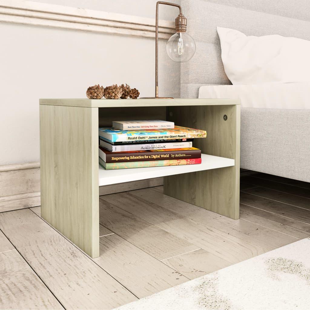 Noční stolek bílý a dub sonoma 40 x 30 x 30 cm dřevotříska