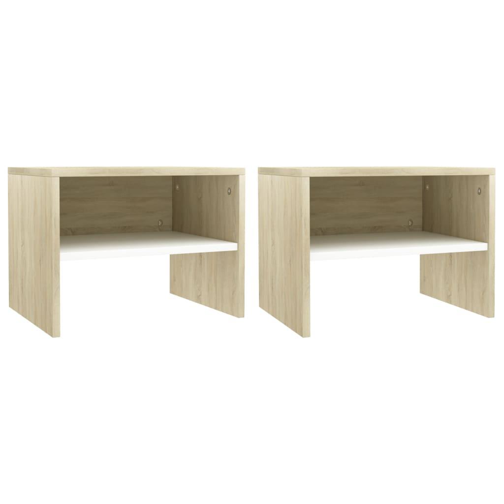 Noční stolky 2 ks bílé a dub sonoma 40 x 30 x 30 cm dřevotříska