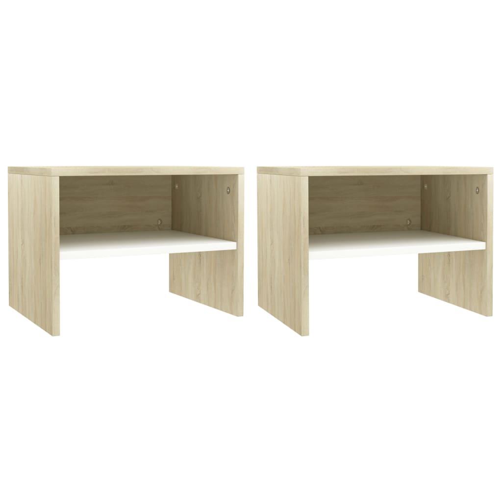 vidaXL Noční stolky 2 ks bílé a dub sonoma 40 x 30 x 30 cm dřevotříska