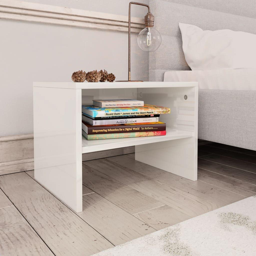 Noční stolek bílý s vysokým leskem 40 x 30 x 30 cm dřevotříska