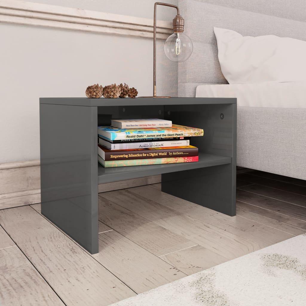 Noční stolek šedý s vysokým leskem 40 x 30 x 30 cm dřevotříska