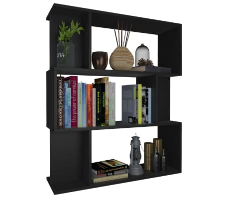 "vidaXL Book Cabinet/Room Divider Black 31.5""x9.4""x37.8"" Chipboard[3/8]"