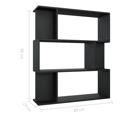 "vidaXL Book Cabinet/Room Divider Black 31.5""x9.4""x37.8"" Chipboard[8/8]"