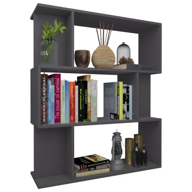 "vidaXL Book Cabinet/Room Divider Gray 31.5""x9.4""x37.8"" Chipboard[3/8]"