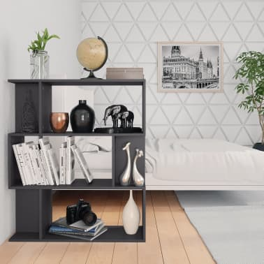 "vidaXL Book Cabinet/Room Divider Gray 31.5""x9.4""x37.8"" Chipboard[4/8]"