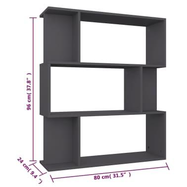 "vidaXL Book Cabinet/Room Divider Gray 31.5""x9.4""x37.8"" Chipboard[8/8]"