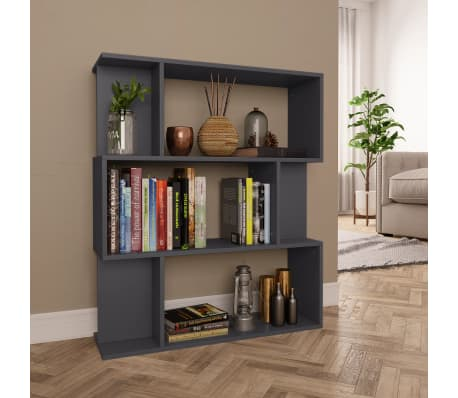 "vidaXL Book Cabinet/Room Divider Gray 31.5""x9.4""x37.8"" Chipboard[1/8]"