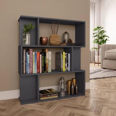 "vidaXL Book Cabinet/Room Divider Gray 31.5""x9.4""x37.8"" Chipboard[1/8]"