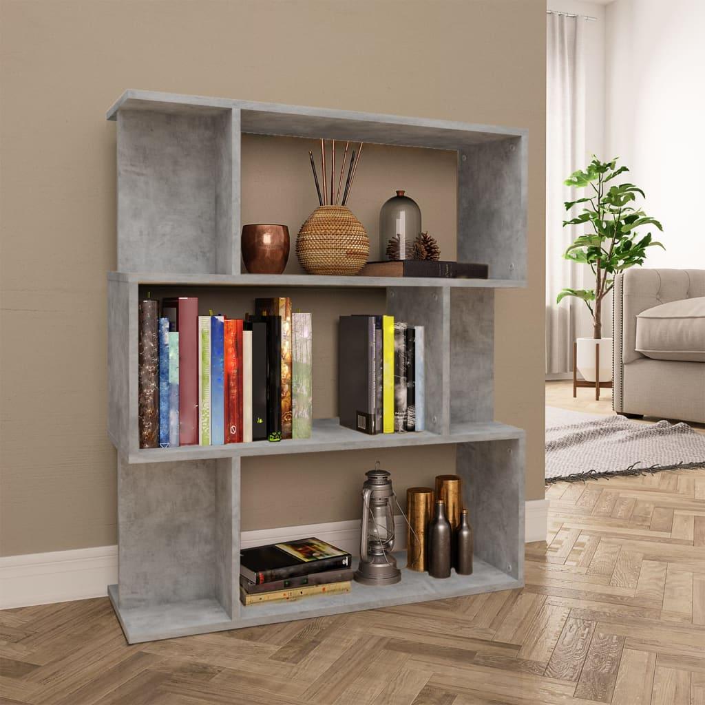 vidaXL Regał na książki/przegroda, betonowy szary, 80x24x96 cm