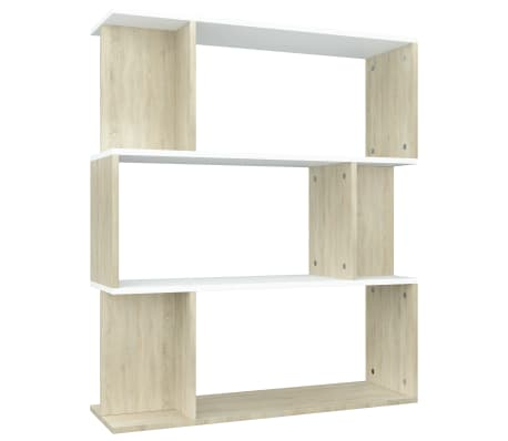 "vidaXL Book Cabinet/Room Divider White and Sonoma Oak 31.5""x9.4""x37.8""[2/8]"