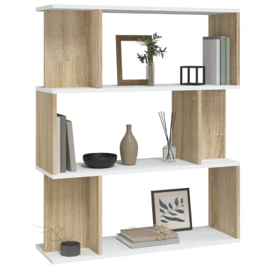 "vidaXL Book Cabinet/Room Divider White and Sonoma Oak 31.5""x9.4""x37.8""[3/8]"