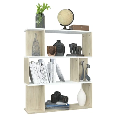 "vidaXL Book Cabinet/Room Divider White and Sonoma Oak 31.5""x9.4""x37.8""[5/8]"