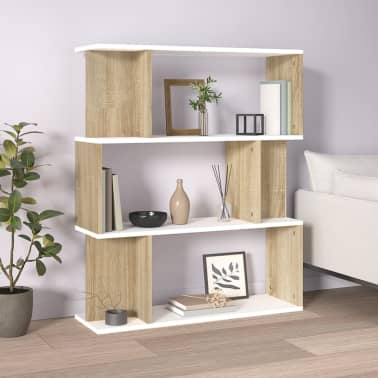 "vidaXL Book Cabinet/Room Divider White and Sonoma Oak 31.5""x9.4""x37.8""[1/8]"