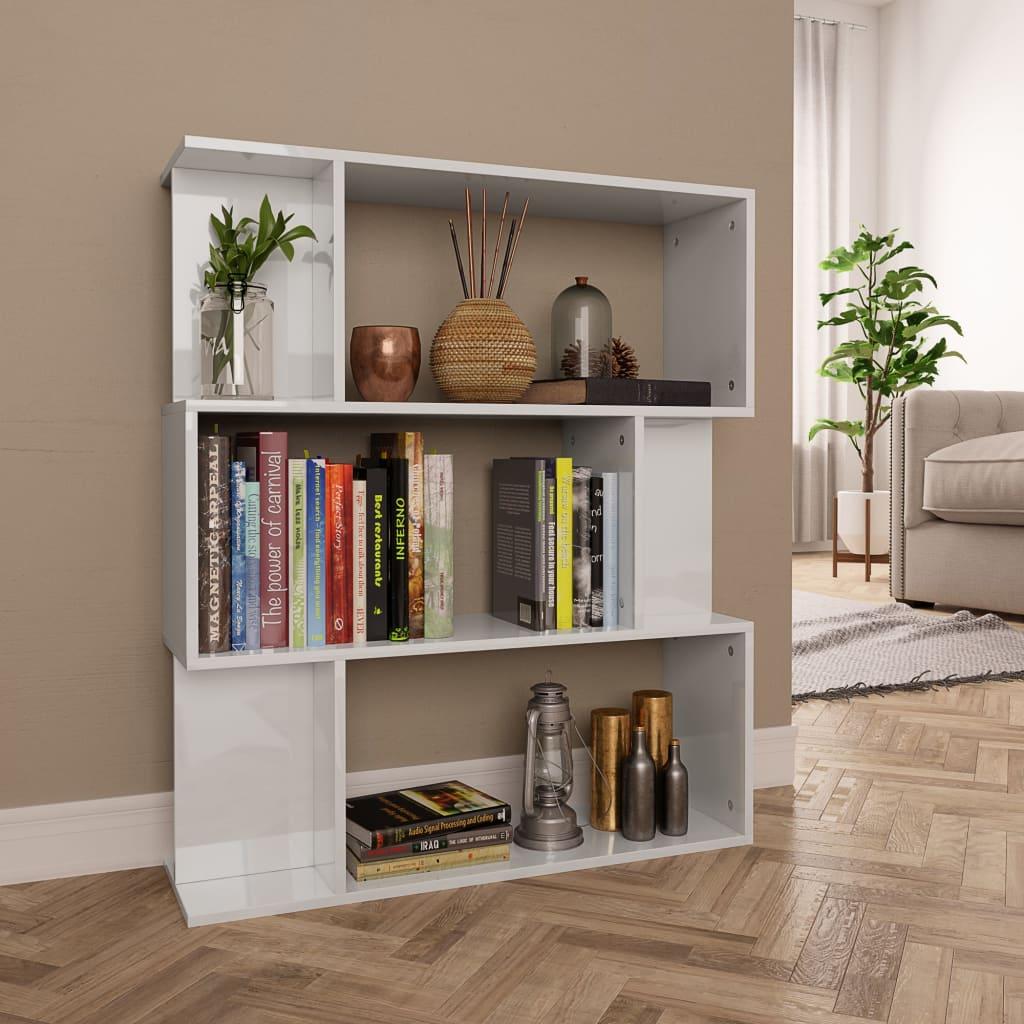 vidaXL Regał na książki/przegroda, wysoki połysk, biały, 80x24x96 cm
