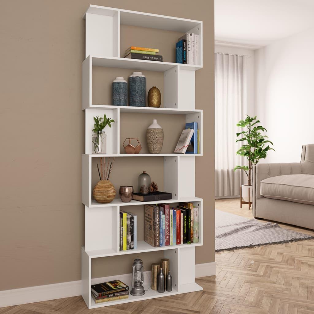 vidaXL Bibliotecă/Separator cameră, alb, 80 x 24 x 192 cm, PAL vidaxl.ro