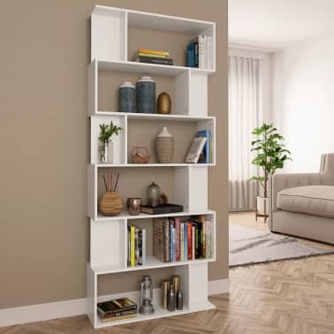 """vidaXL Book Cabinet/Room Divider White 31.5""""x9.4""""x75.6"""" Chipboard[1/7]"""
