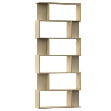 "vidaXL Book Cabinet/Room Divider Sonoma Oak 31.5""x9.4""x75.6"" Chipboard[2/7]"
