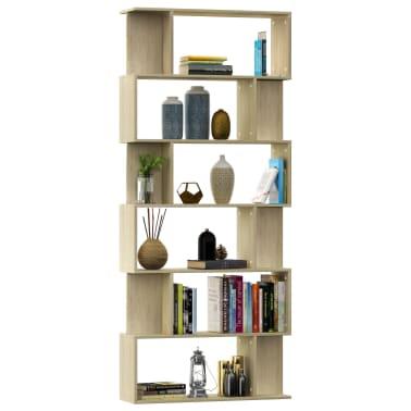 "vidaXL Book Cabinet/Room Divider Sonoma Oak 31.5""x9.4""x75.6"" Chipboard[3/7]"