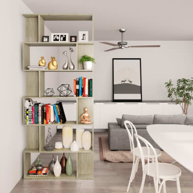 "vidaXL Book Cabinet/Room Divider Sonoma Oak 31.5""x9.4""x75.6"" Chipboard[4/7]"