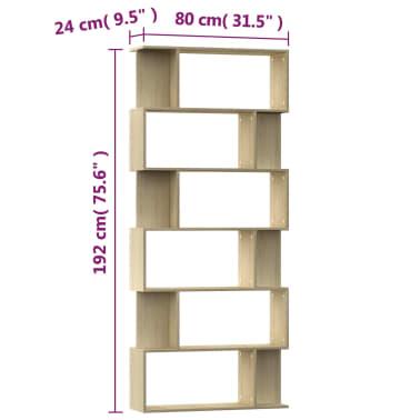 "vidaXL Book Cabinet/Room Divider Sonoma Oak 31.5""x9.4""x75.6"" Chipboard[7/7]"