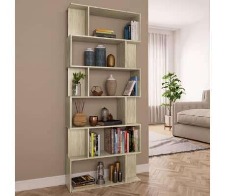 "vidaXL Book Cabinet/Room Divider Sonoma Oak 31.5""x9.4""x75.6"" Chipboard[1/7]"
