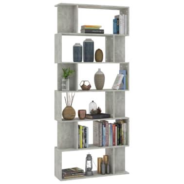 "vidaXL Book Cabinet/Room Divider Concrete Gray 31.5""x9.4""x75.6"" Chipboard[3/7]"