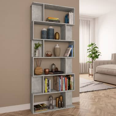 "vidaXL Book Cabinet/Room Divider Concrete Gray 31.5""x9.4""x75.6"" Chipboard[1/7]"