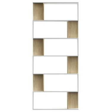 "vidaXL Book Cabinet/Room Divider White and Sonoma Oak 31.5""x9.4""x75.6"" Chipboard[5/7]"