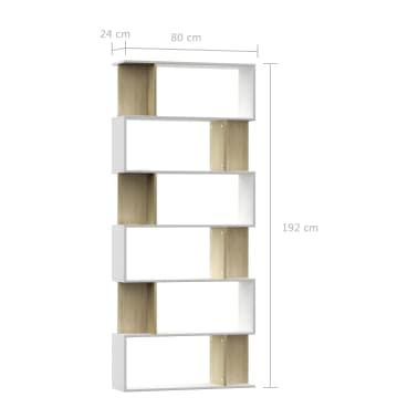 "vidaXL Book Cabinet/Room Divider White and Sonoma Oak 31.5""x9.4""x75.6"" Chipboard[7/7]"