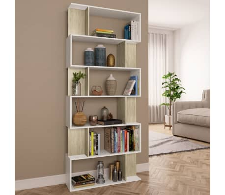 "vidaXL Book Cabinet/Room Divider White and Sonoma Oak 31.5""x9.4""x75.6"" Chipboard[1/7]"
