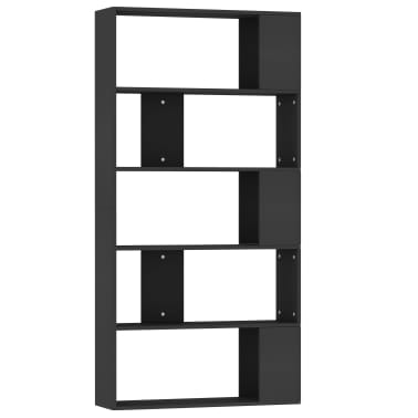 "vidaXL Book Cabinet/Room Divider Black 31.5""x9.4""x62.6"" Chipboard[2/7]"