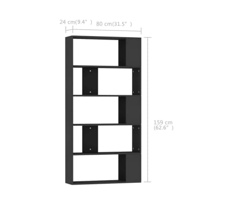 "vidaXL Book Cabinet/Room Divider Black 31.5""x9.4""x62.6"" Chipboard[7/7]"