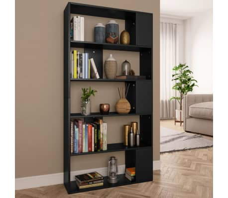 "vidaXL Book Cabinet/Room Divider Black 31.5""x9.4""x62.6"" Chipboard[1/7]"