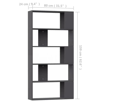 "vidaXL Book Cabinet/Room Divider Gray 31.5""x9.4""x62.6"" Chipboard[7/7]"