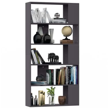 "vidaXL Book Cabinet/Room Divider Gray 31.5""x9.4""x62.6"" Chipboard[3/7]"