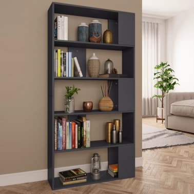 "vidaXL Book Cabinet/Room Divider Gray 31.5""x9.4""x62.6"" Chipboard[1/7]"