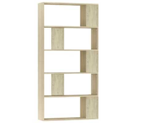 "vidaXL Book Cabinet/Room Divider Sonoma Oak 31.5""x9.4""x62.6"" Chipboard[2/7]"