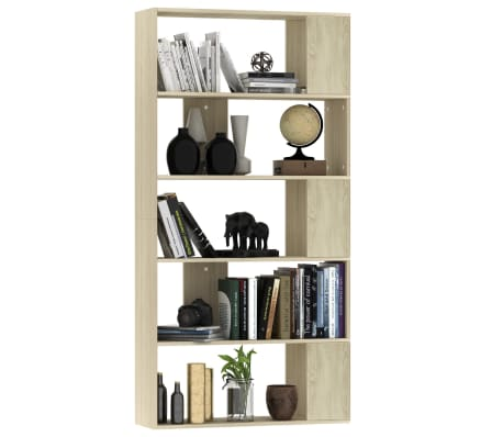 "vidaXL Book Cabinet/Room Divider Sonoma Oak 31.5""x9.4""x62.6"" Chipboard[3/7]"